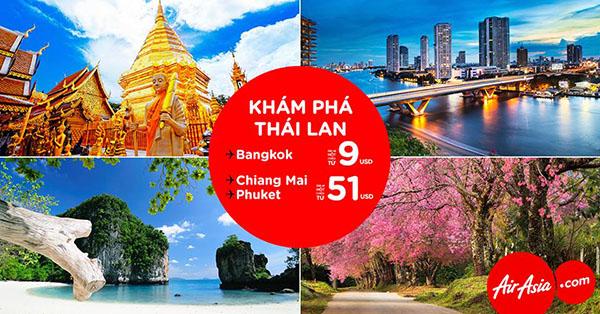 Vé máy bay đi Thái Lan giá rẻ 9 USD