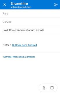 Como encaminho um email apenas pelo app do Microsoft Outlook no tablet