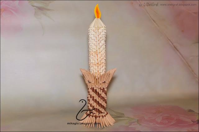 623. Świeca z origami / 3d origami candle