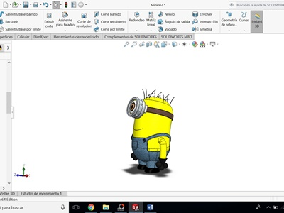 resultado final: minion modelado en solidworks