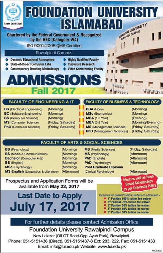 Admission open in foundation university Rawalpindi Campus fall 2017  Programs