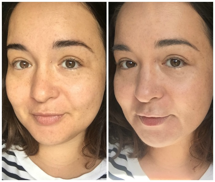 Clarins BB Skin Detox Fluid SPF 25 before and after photos on face
