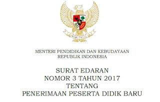 Permendikbud Tahun 2017 Tentang  Surat Edaran Penerimaan Peserta Didik Baru PPDB