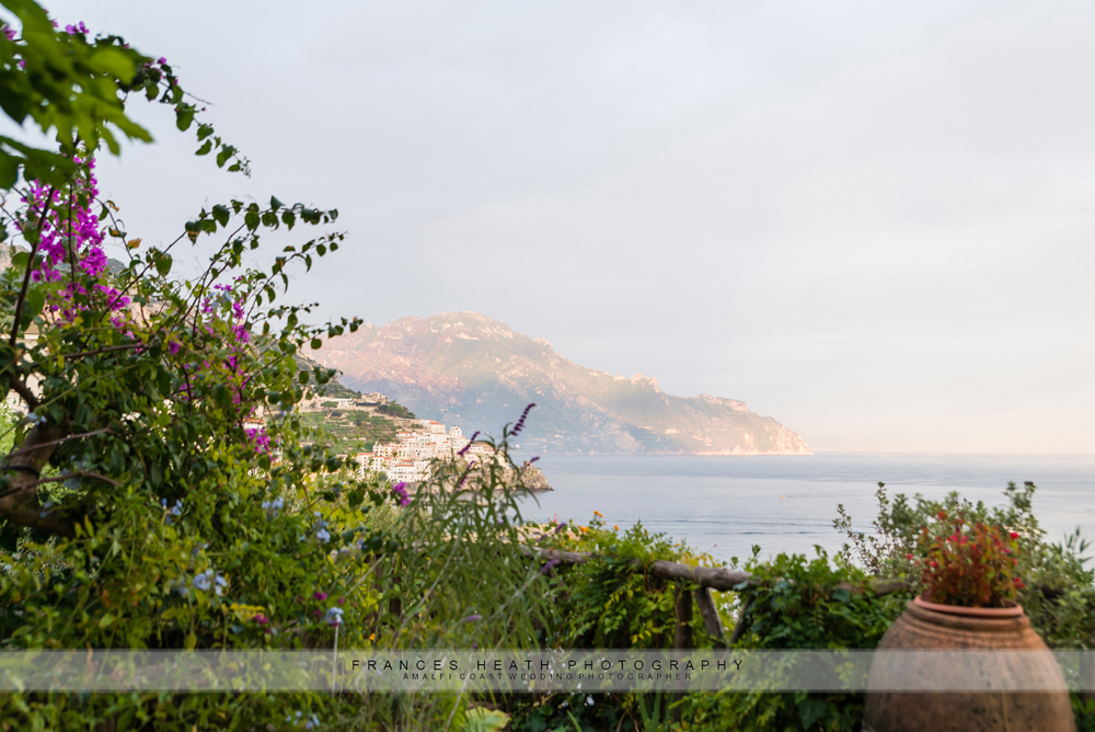 View of the sunset in Amalfi during the wedding ceremony