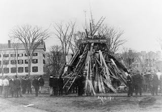 A black and white photograph of a bonfire that has not been lit yet.