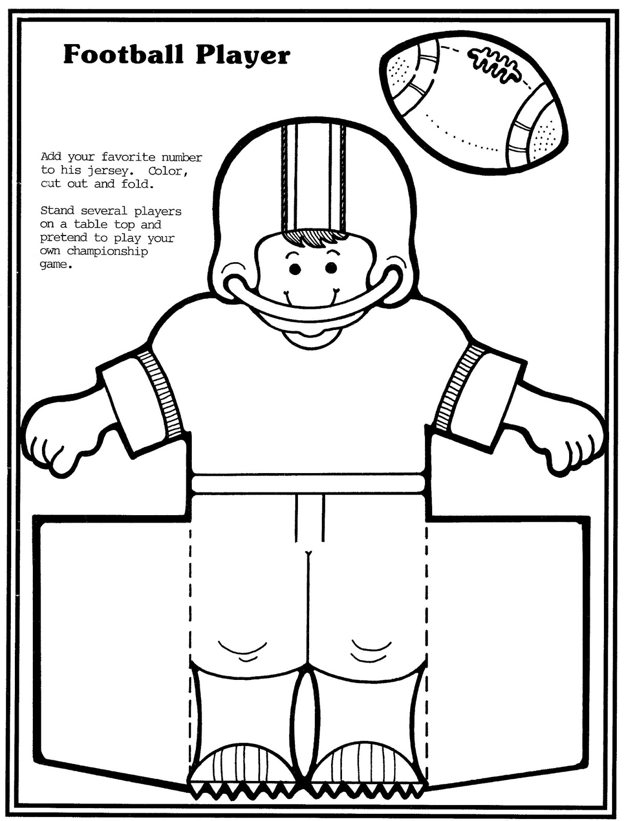 Mostly paper dolls too football player and cheerleader for Football cutout template