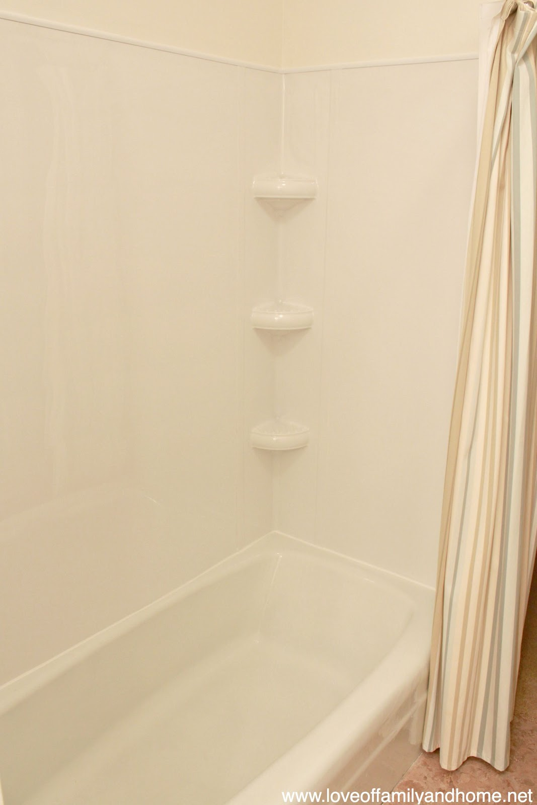 Shower Before After With Tub Surround Tutorial Love Of Family Home