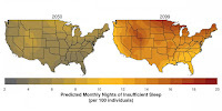Areas of the western and northern united states -- where nighttime temperatures are projected to increase most -- may experience the largest future changes in sleep. (Credit: N. Obradovich) Click to Enlarge.
