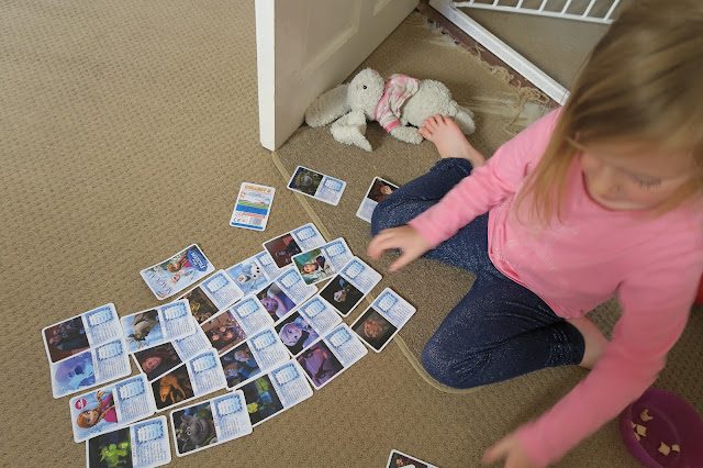 Lily organising the cards