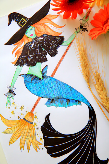 Halloween Mermaid Witch Illustration by Mademoiselle Mermaid