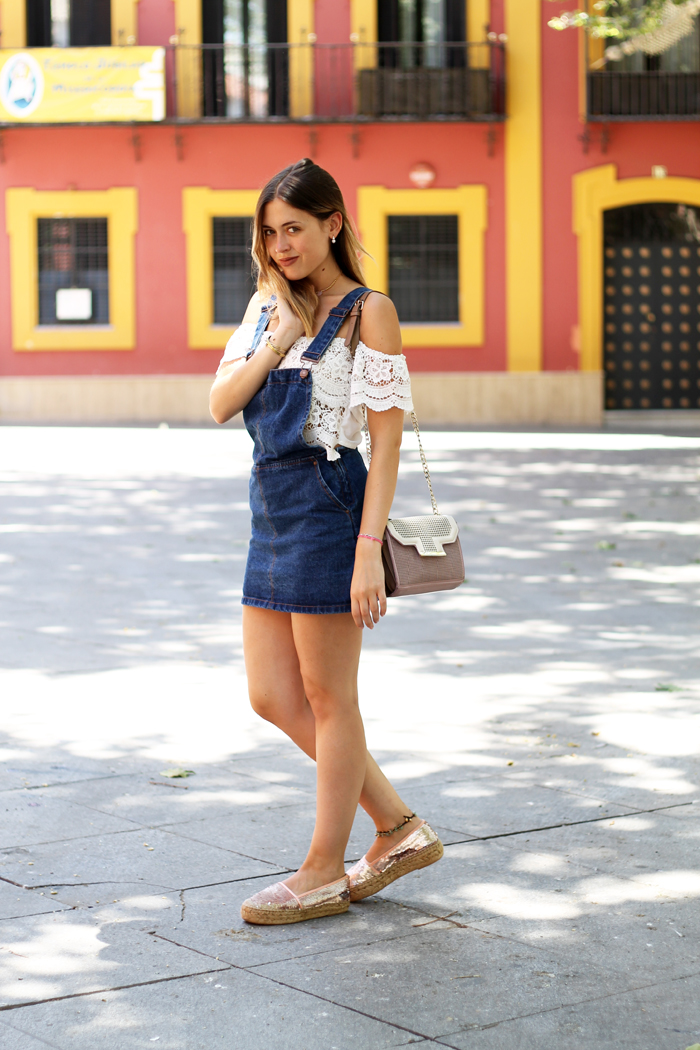 denim and off the shoulder