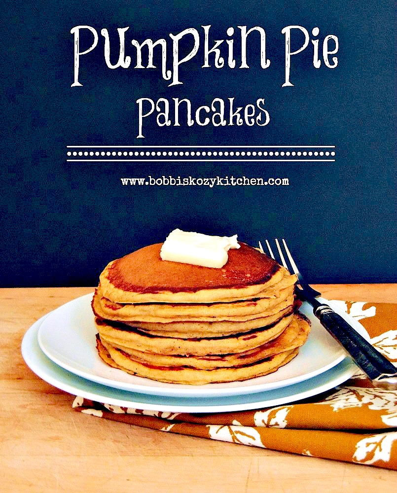 Easy Pumpkin Pie Pancakes - One bite of these pumpkin pancakes and you'll think you're having dessert for breakfast! #pancakes #pumpkin #pie #breakfast #brunch #easy #recipe | bobbiskozykitchen.com