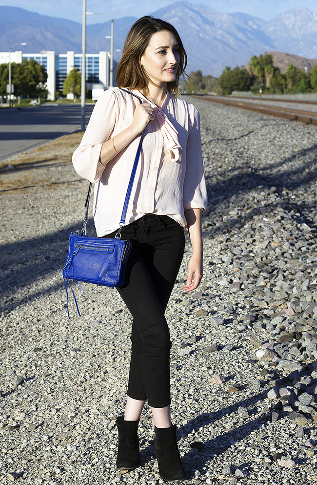 Blush Tie Blouse & Rebecca Minkoff Regan Crossbody Bag