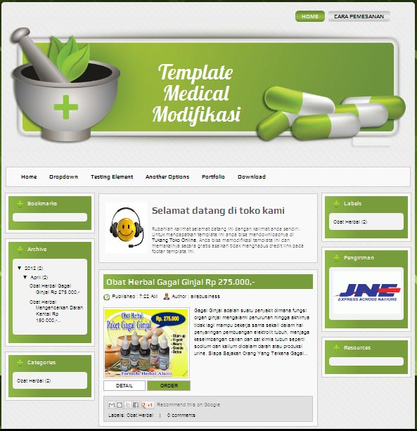 Desain Web Apotik, Herbal