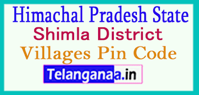 Shimla District Pin Codes in Himachal Pradesh State