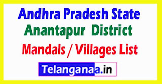 Anantapur District All Mandal or Villages List in Andhra Pradesh State India