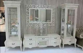 idejati furniture homepage - set lemari tv jati putihan