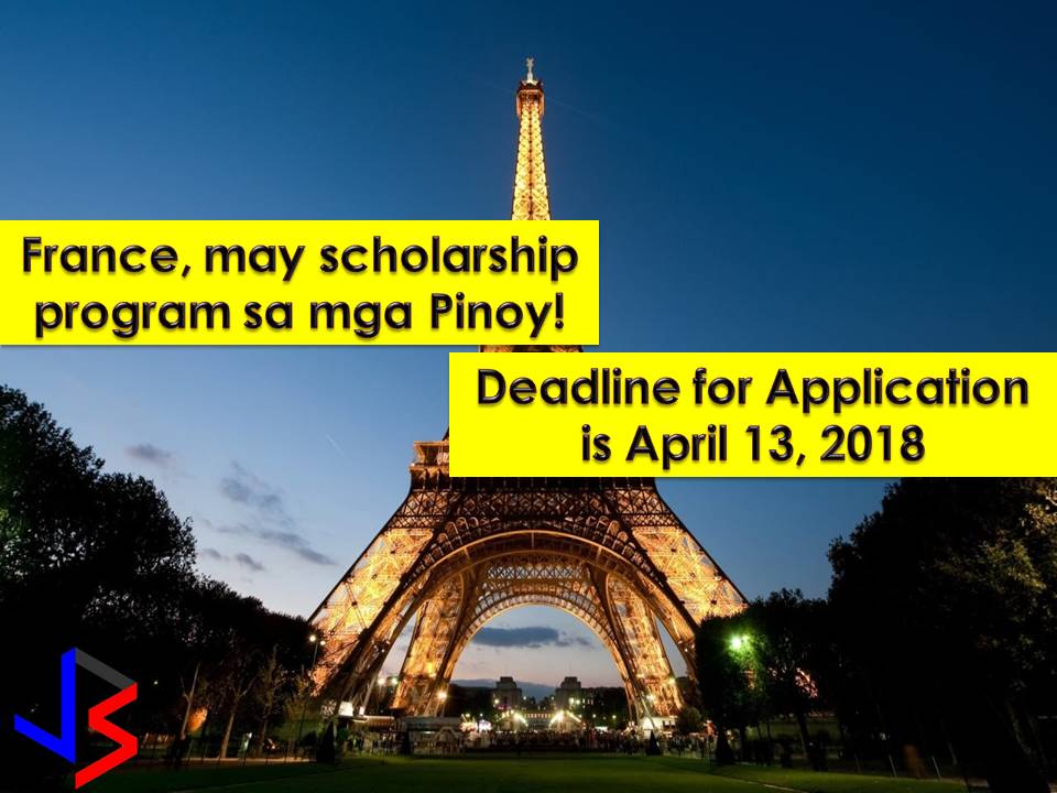 France is one of the most beautiful countries in the world Filipinos hopes to travel one day. But that wish may come true if you are willing to study in France as scholar under Phil France Scholarship Program.    The French Embassy launched the program to open more opportunities to Filipinos to develop their studying and carrying out research work in France, with the goal of making lasting contributions to Philippine society.    The scholarship has opened two separate calls for application under PhilFrance Scholarship Program for the academic year 2018-2019.