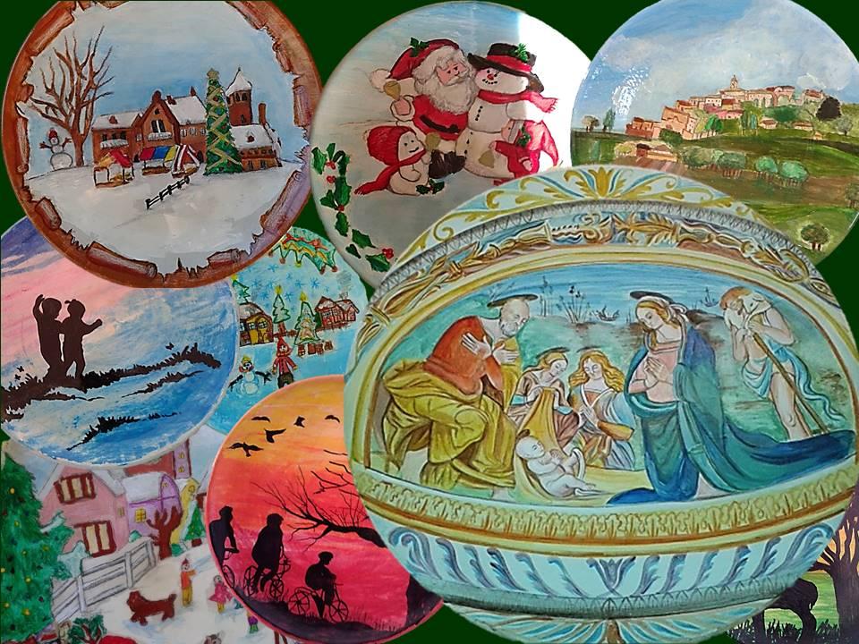 Decorazioni a freddo di piatti natalizi e non arte senzaula for Decorazioni piatti