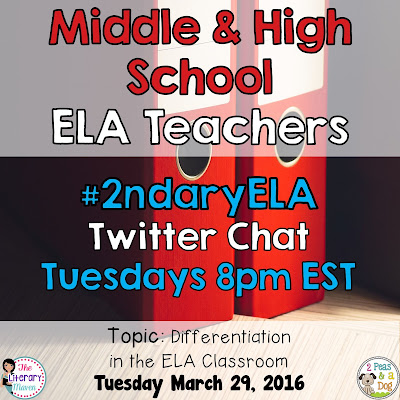 Join secondary English Language Arts teachers Tuesday evenings at 8 pm EST on Twitter. This week's chat will focus on differentiating in the ELA classroom.