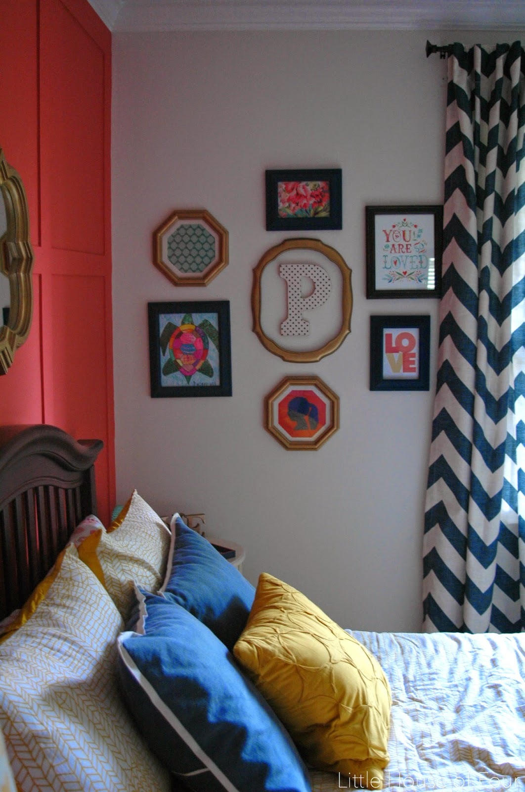 Navy, Coral and Yellow Girls room