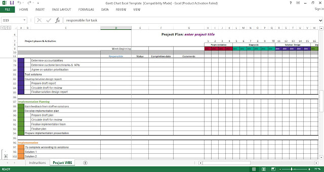 Download Gantt Chart Excel Template free