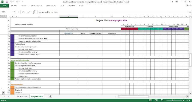 Gantt Chart Excel Template Engineering Management