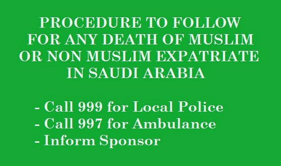 PROCEDURE FOR DEATH OF EXPATRIATE IN SAUDI