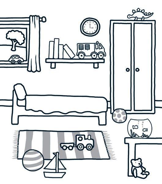 Tranh tô màu phòng ngủ đáng yêu cho bé