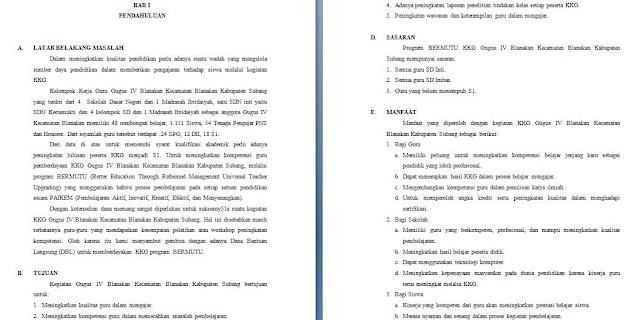 contoh proposal kegiatan peningkatan mutu kelompok kerja guru sekolah dasar (kkg sd)