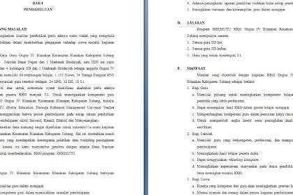 Contoh Proposal Kegiatan Peningkatan Mutu KKG SD