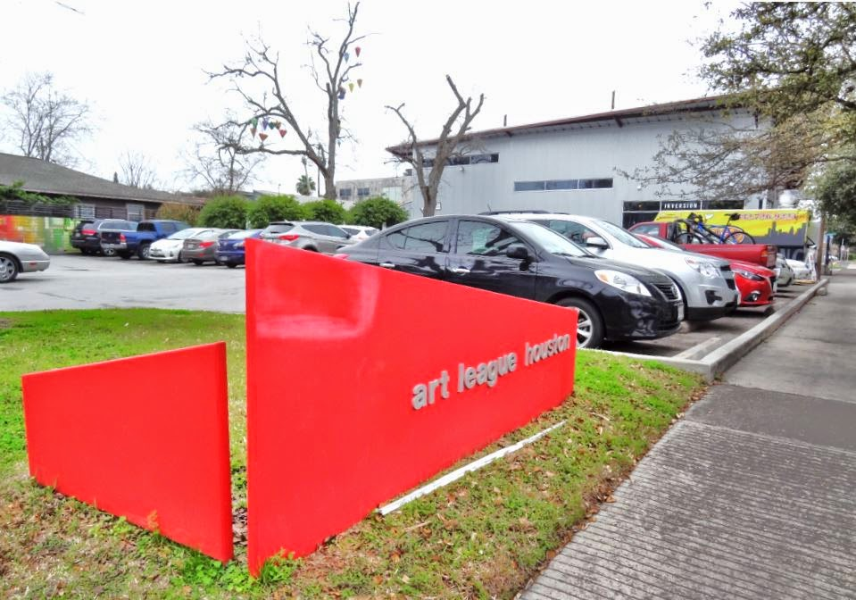 Art League Houston (bright red signage on corner of Montrose and Bomar St