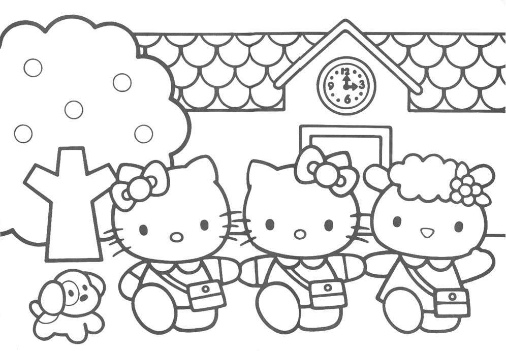 Girls Hello Kitty Coloring Pages widescreen