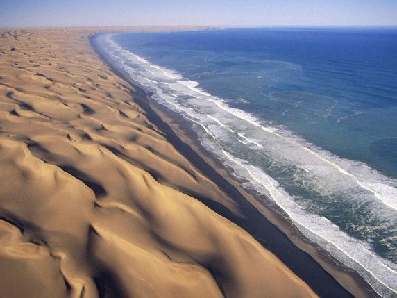 Desert and Sea meets at Skeleton Coast in Namibia