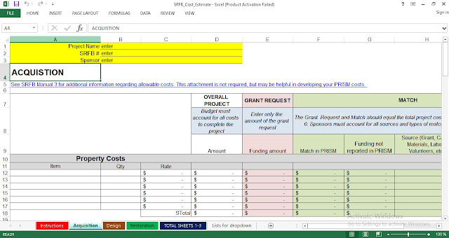 Download Project Cost Estimate and Budget excel Template