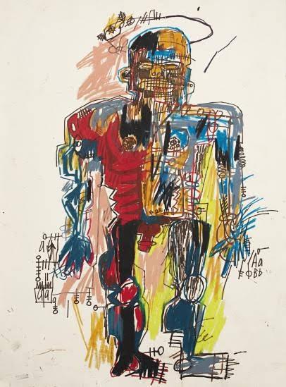 ジャン=ミシェル・バスキアの全身の正面向きの自画像