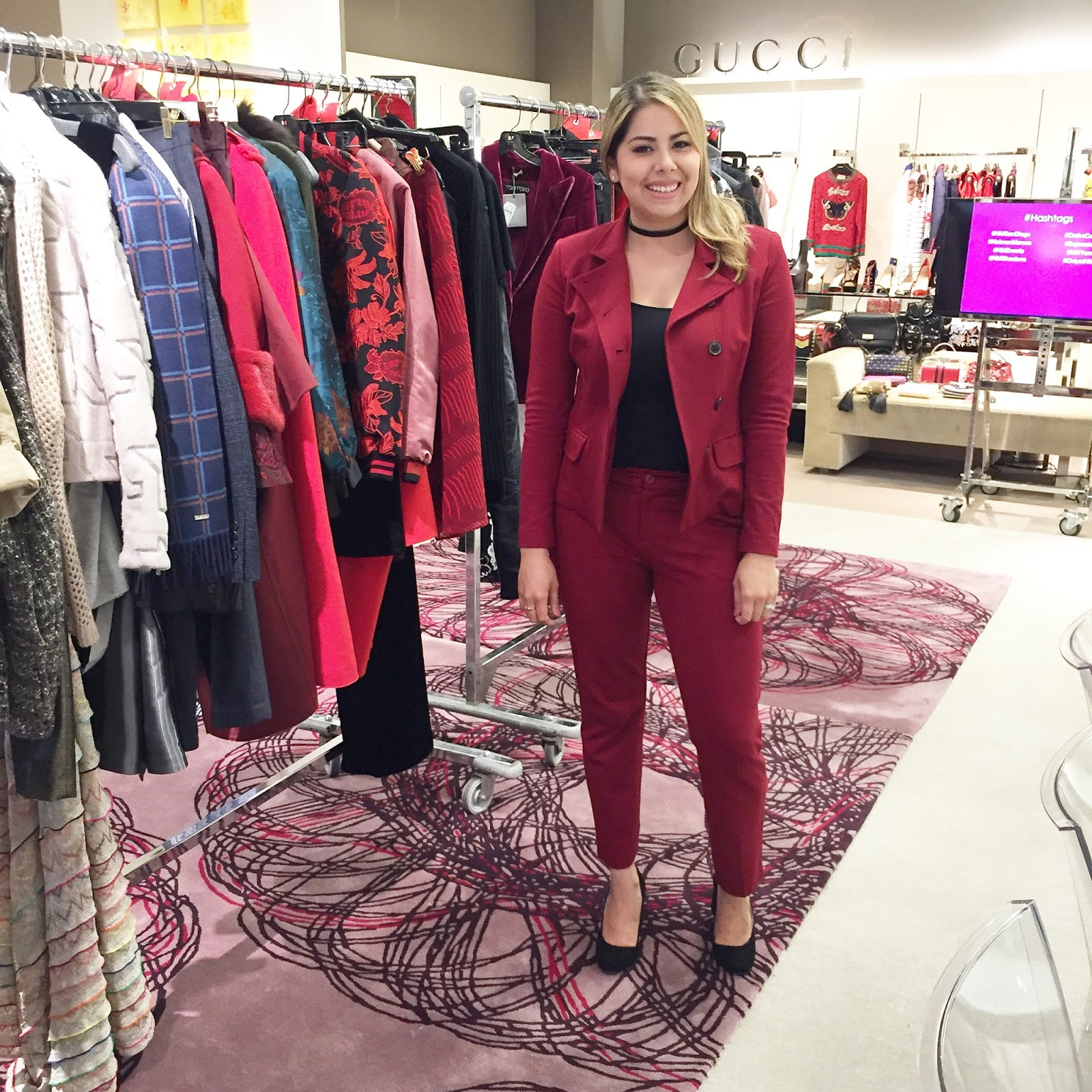 Latina fashion blogger, burgundy suit for fall, fall blogger outfit, socal fashion blogger, san diego best bloggers