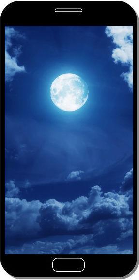 Lune et Nuages Bleus - Fond d'Écran en QHD pour Mobile