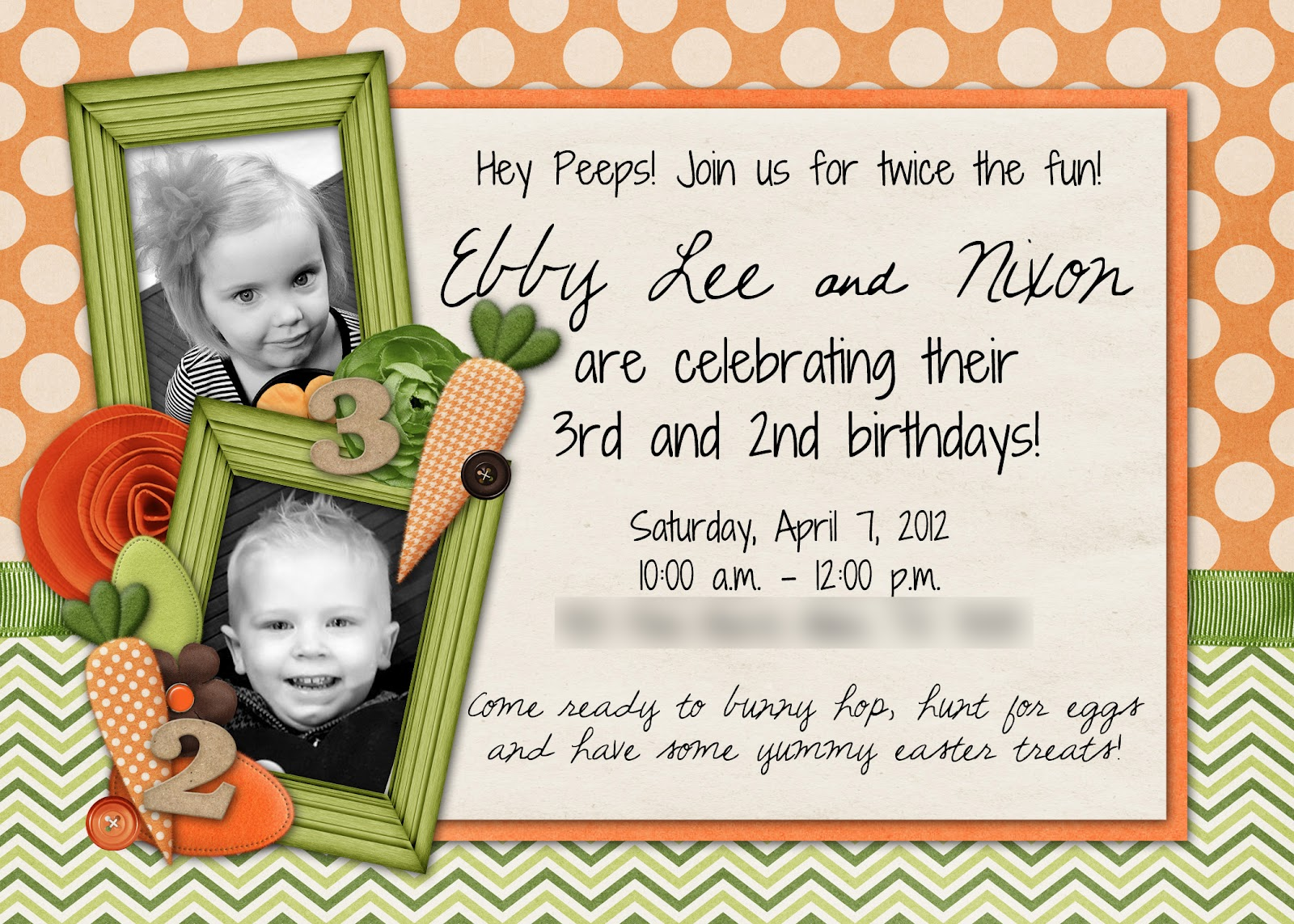 Easter Birthday Party A Sweet Invitation For Two