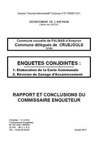 ouvrir le Rapport suite aux enquêtes publiques de la carte communale et zonage d'assainissement