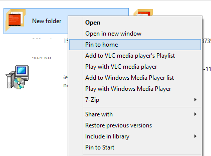 Pin any folder to Home of Windows explorer
