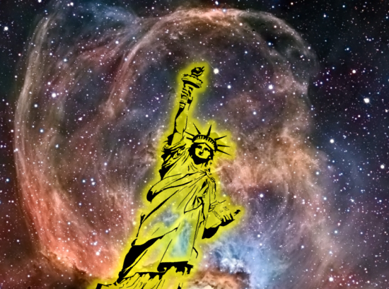 Statue of Liberty illustration placed on top of Statue of Liberty Nebula (NGC 3576) photo — original image from NASA's APOD website — image taken and © by Mazlin, Harvey, Gilbert, & Verschatse