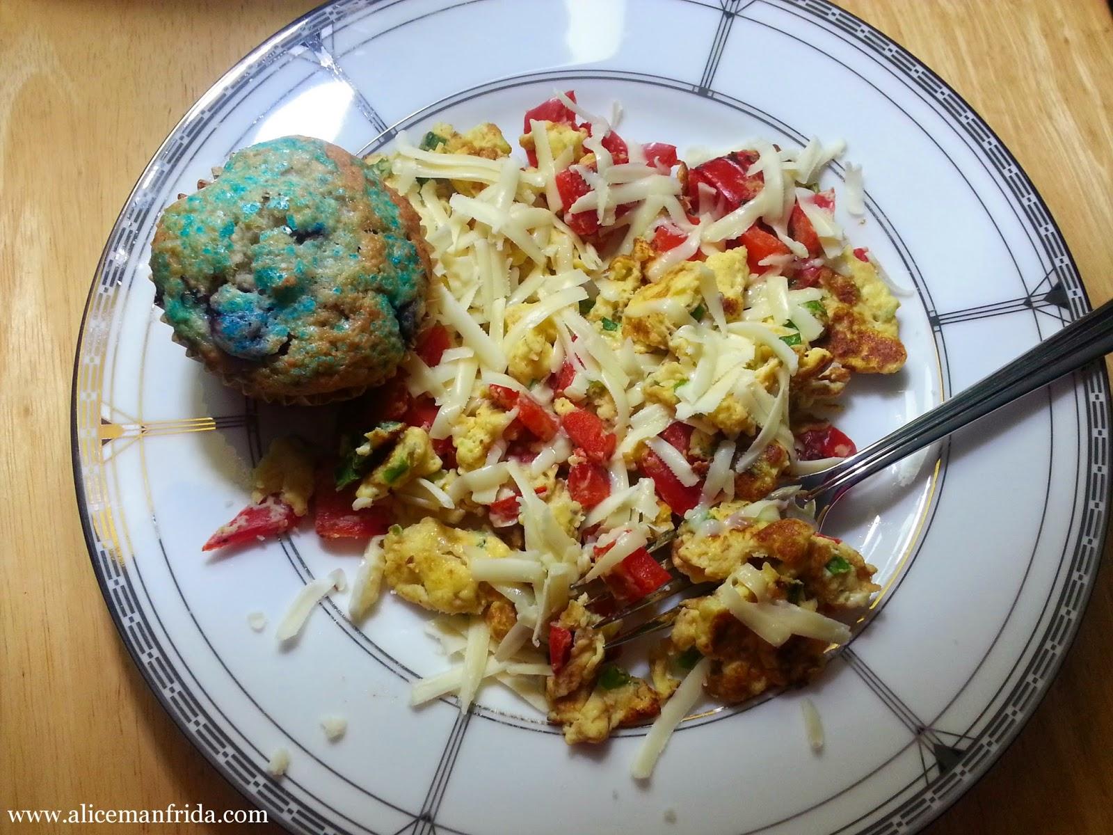 scrambled eggs, blueberry muffins