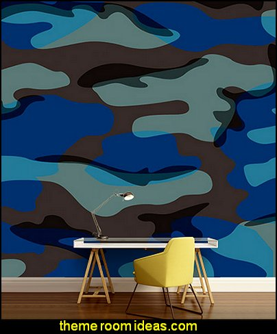 Blue Camo Mural army theme bedroom wall decorations