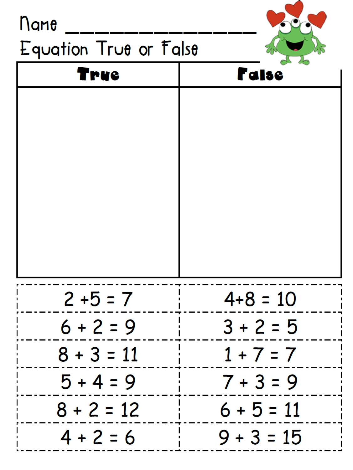 True False Equations Worksheet First Grade True Best