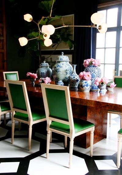 green dining room chairs | La Maison Boheme: Green Dining Chairs