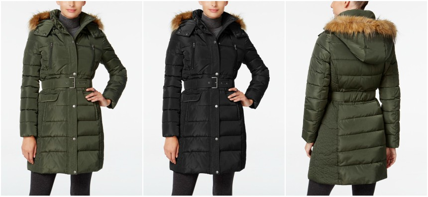 Tommy Hilfiger Faux-Fur Trim Puffer Coat for only $60 (reg $245)!