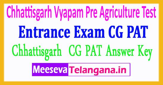 Chhattisgarh Pre Agriculture Test Entrance Exam Answer Key  Vyapam Vyavsayik Pariksha Mandal CG PAT Answer Key  2018