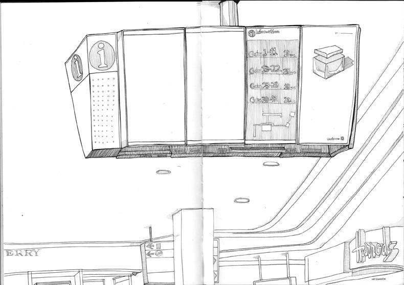 Mr Gammon Draws Flight Information Screens Heathrow Airport