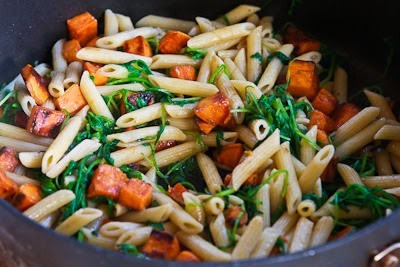 Easy Penne Pasta with Balsamic Sweet Potatoes, Arugula (or Spinach), and Parmesan [KalynsKitchen.com]